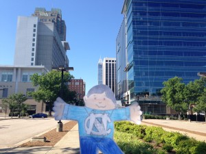 Flat Stanley in downtown Raleigh
